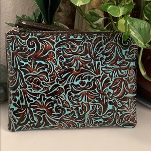 PATRICIA Nash Wristlet pouch Tooled Turquoise